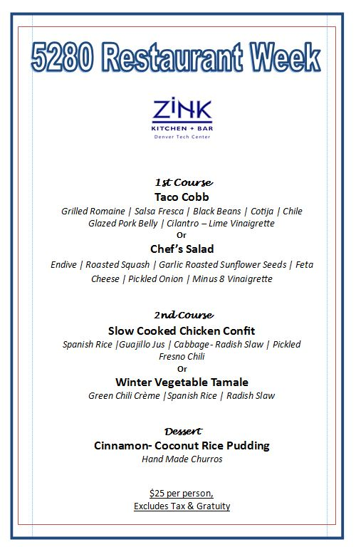 Zink 5280 Restaurant Week February 2018
